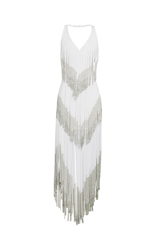 Izabel Metallic Fringe Bandage Dress