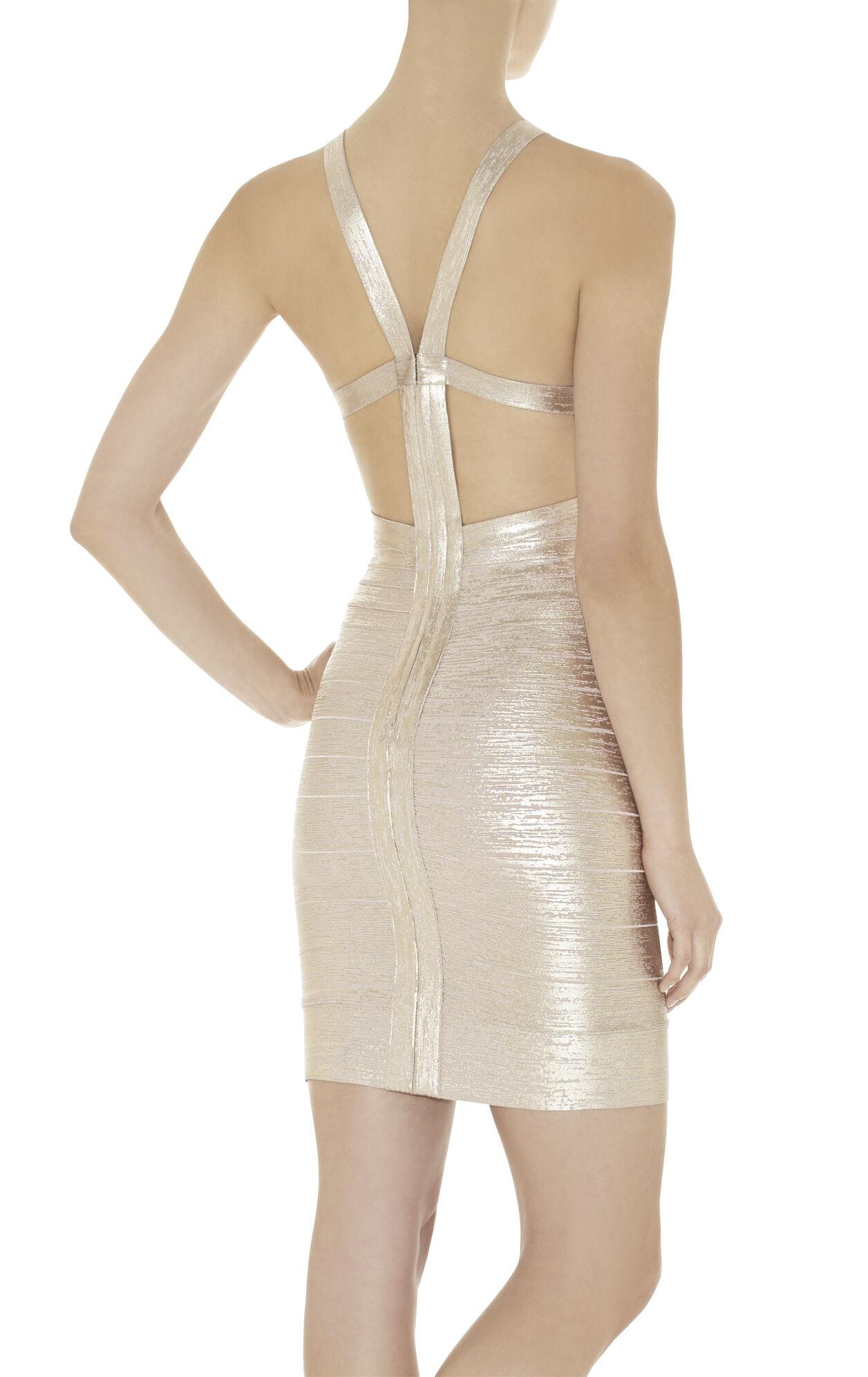Marina Woodgrain Foil-Print Dress