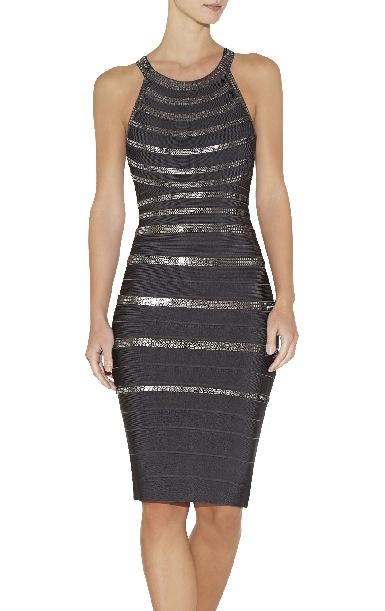 Daga Stacked Leather Sequins Dress