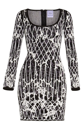 Rebekuh Caged Animal Jacquard Dress