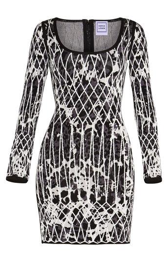 Rebekuh Caged Animal Jacquard Dress