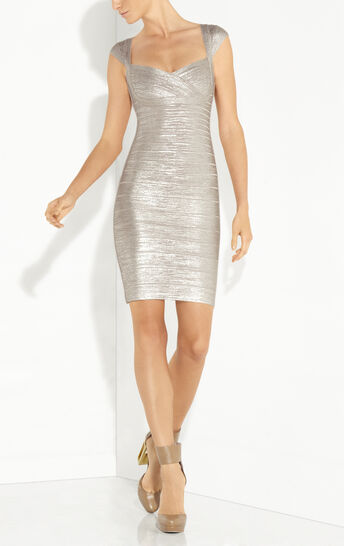 Abrielle Woodgrain Foil Printed Dress