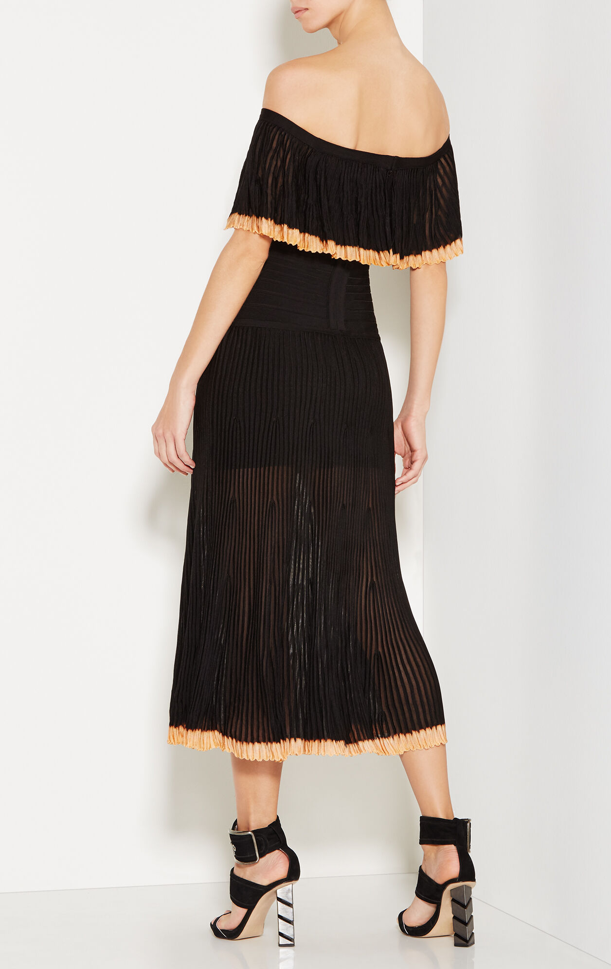 Malli Off-Shoulder Pointelle Trim Midi Dress