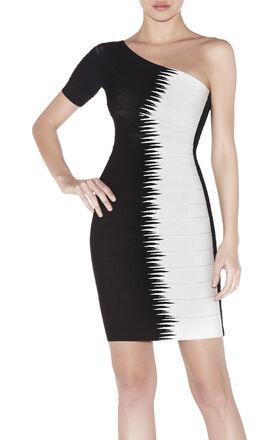 Cintia Single-Sleeve Jagged Pike Jacquard Dress