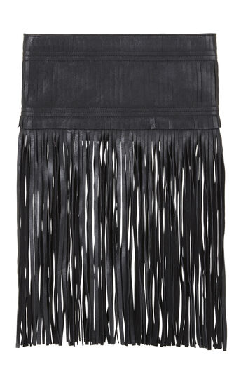 Adona Goat Leather Fringe Clutch