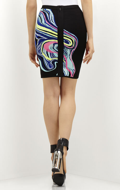 Ezra Optic Multicolor Ripple Jacquard Pencil Skirt
