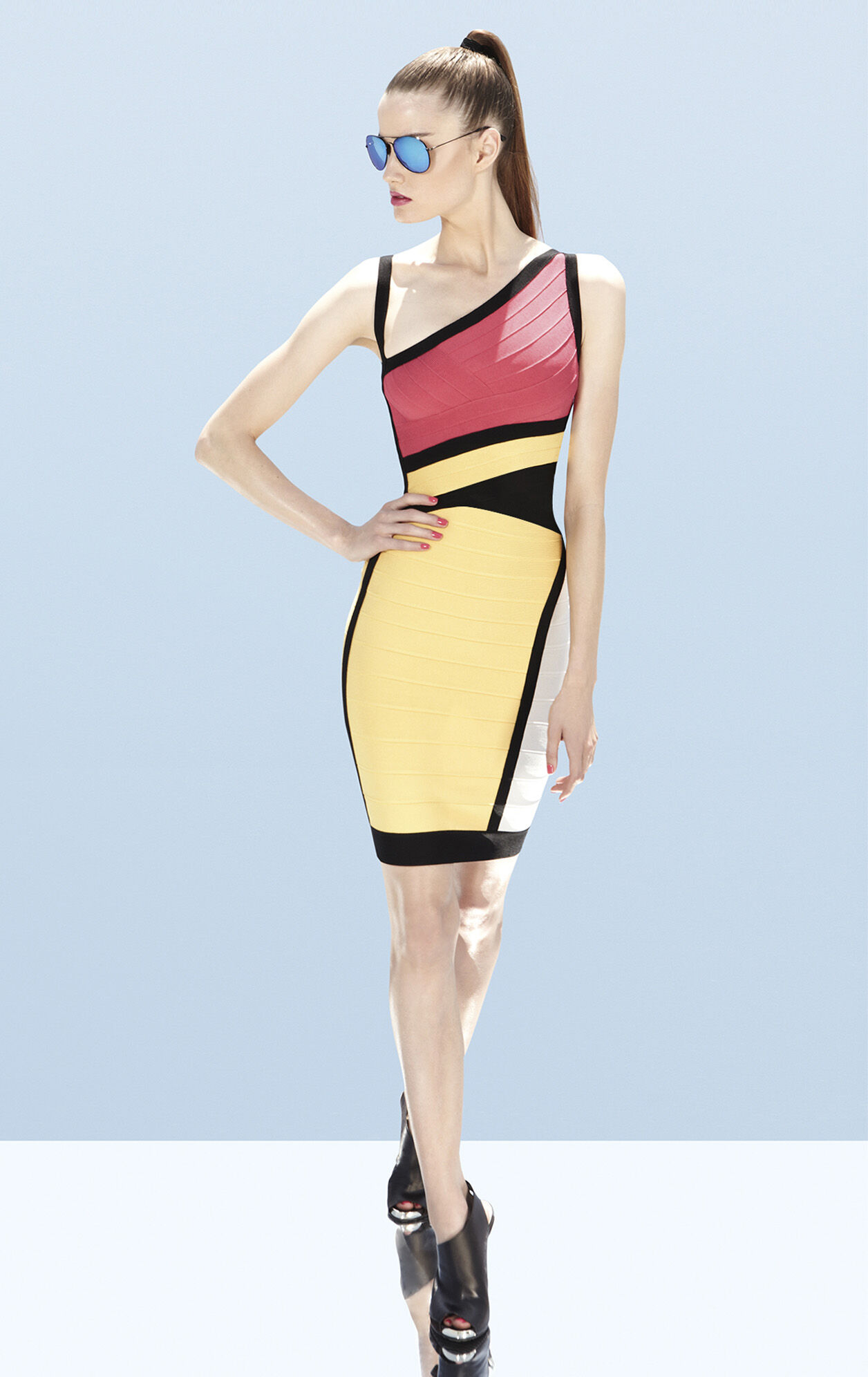 Nolita Asymmetrical Colorblocked Bandage Dress