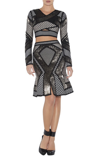 Gina Geometric-Stacked Beaded Mesh-Detail Top