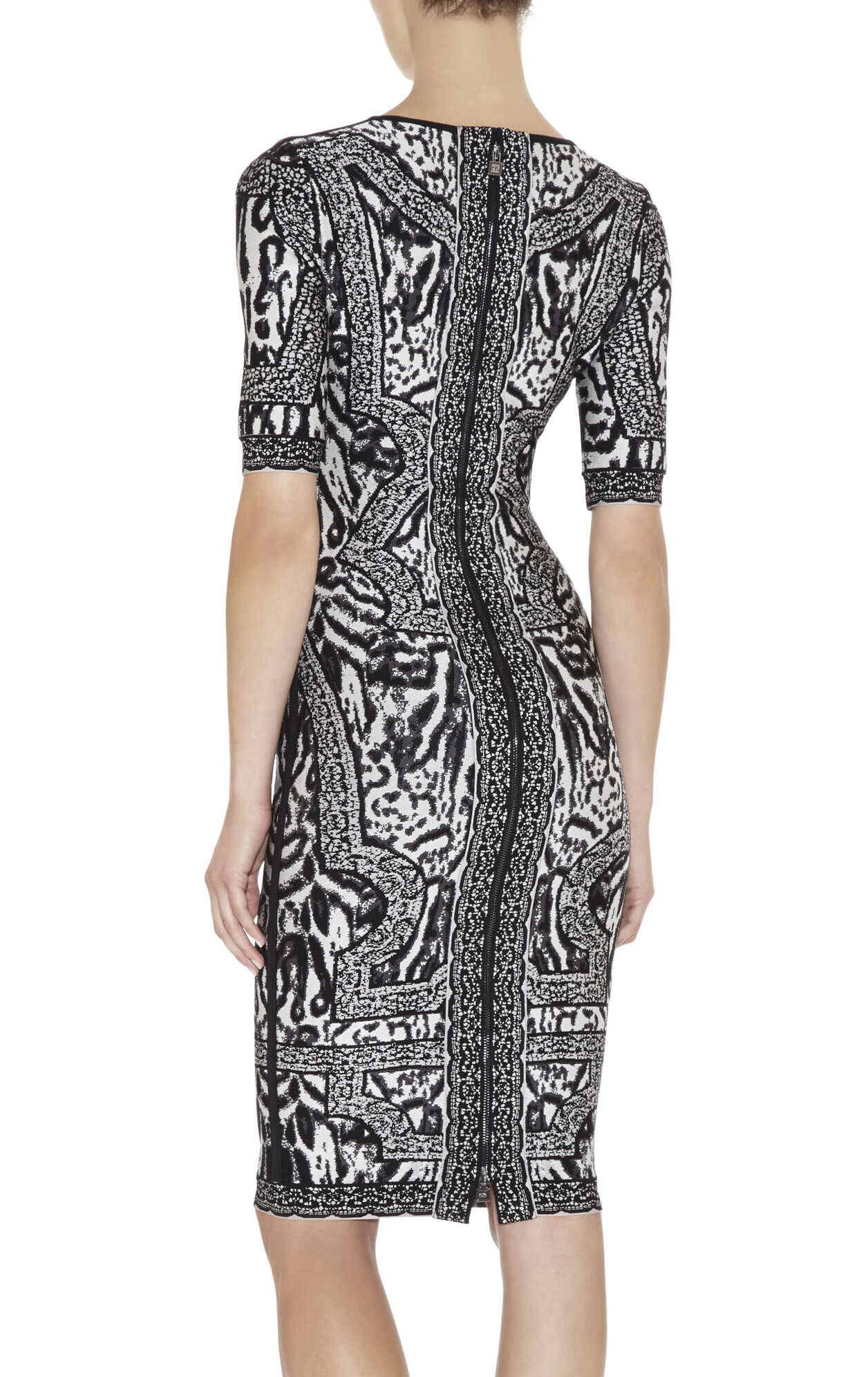 Zola Ocelot and Antique-Lace Jacquard Dress
