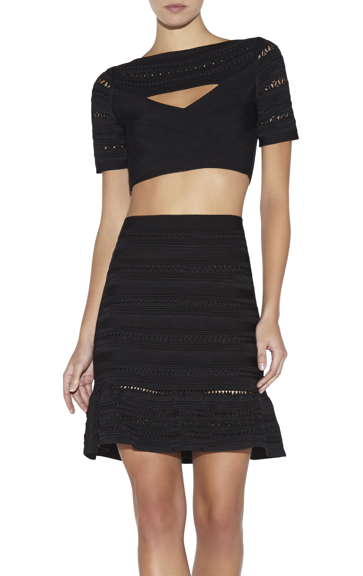Lorie Braided Ottoman Bandage Crop Top
