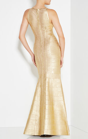 Gabriela Woodgrain Foil Print Gown
