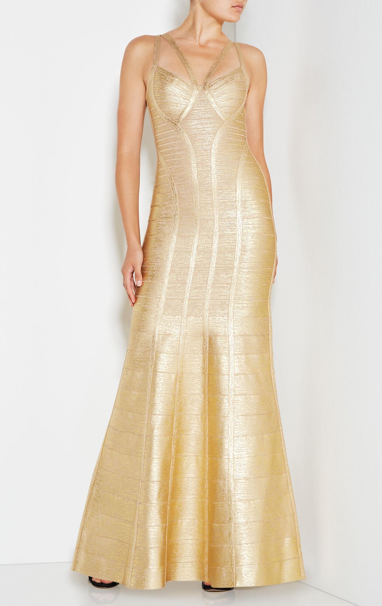 Gabriela Woodgrain Foil Print Gown