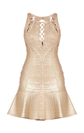 Audrianna Allover Foil Scalloped Cutout Dress