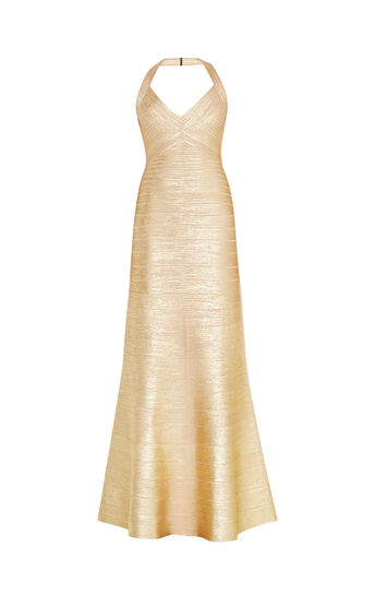 Merissa Woodgrain Foil Print Gown