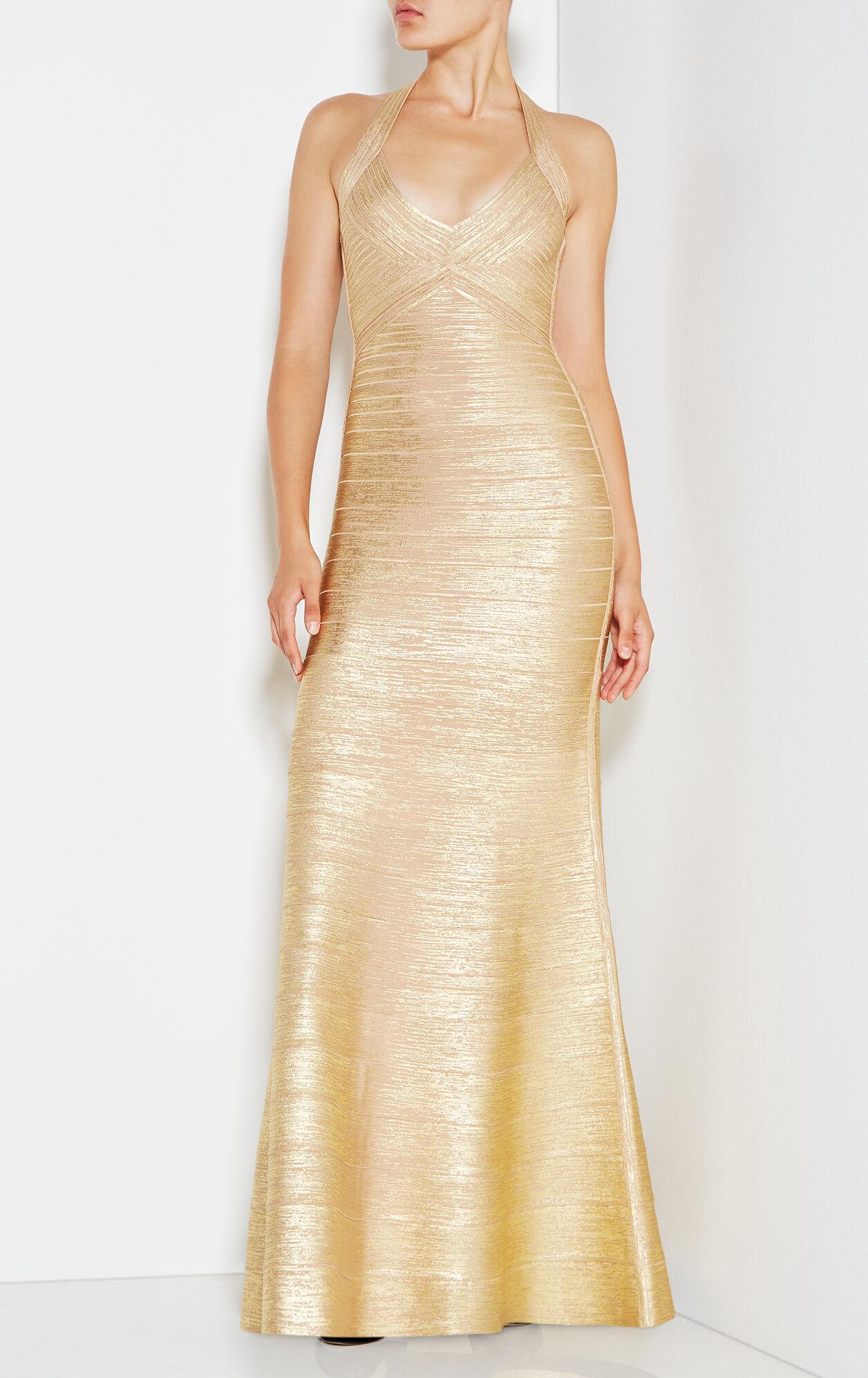 Merissa Woodgrain Foil Print Gown