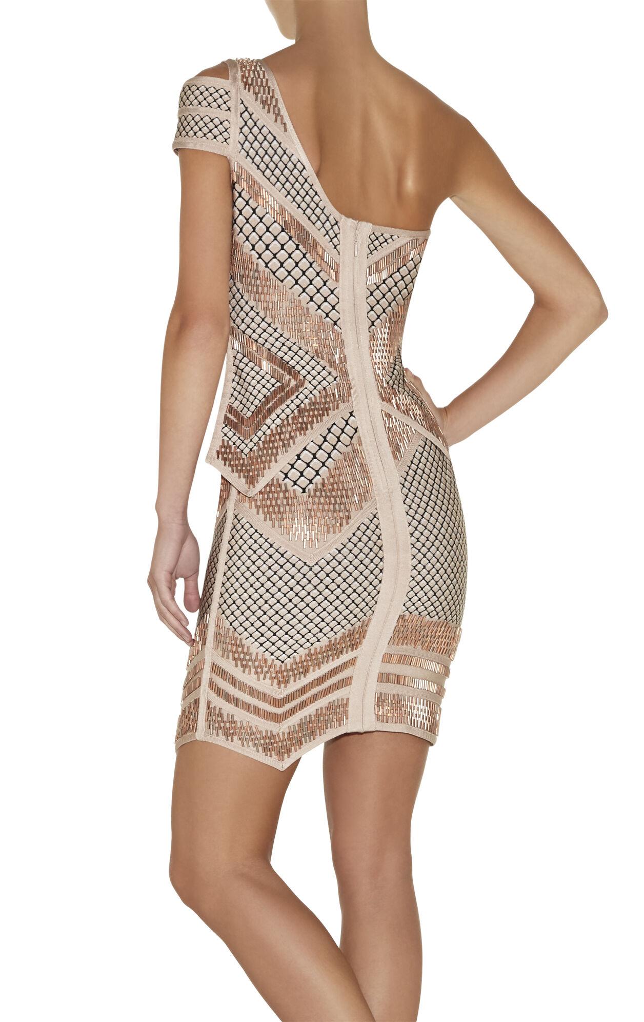 Abby Geometric-Stacked Beaded Mesh-Detail Dress