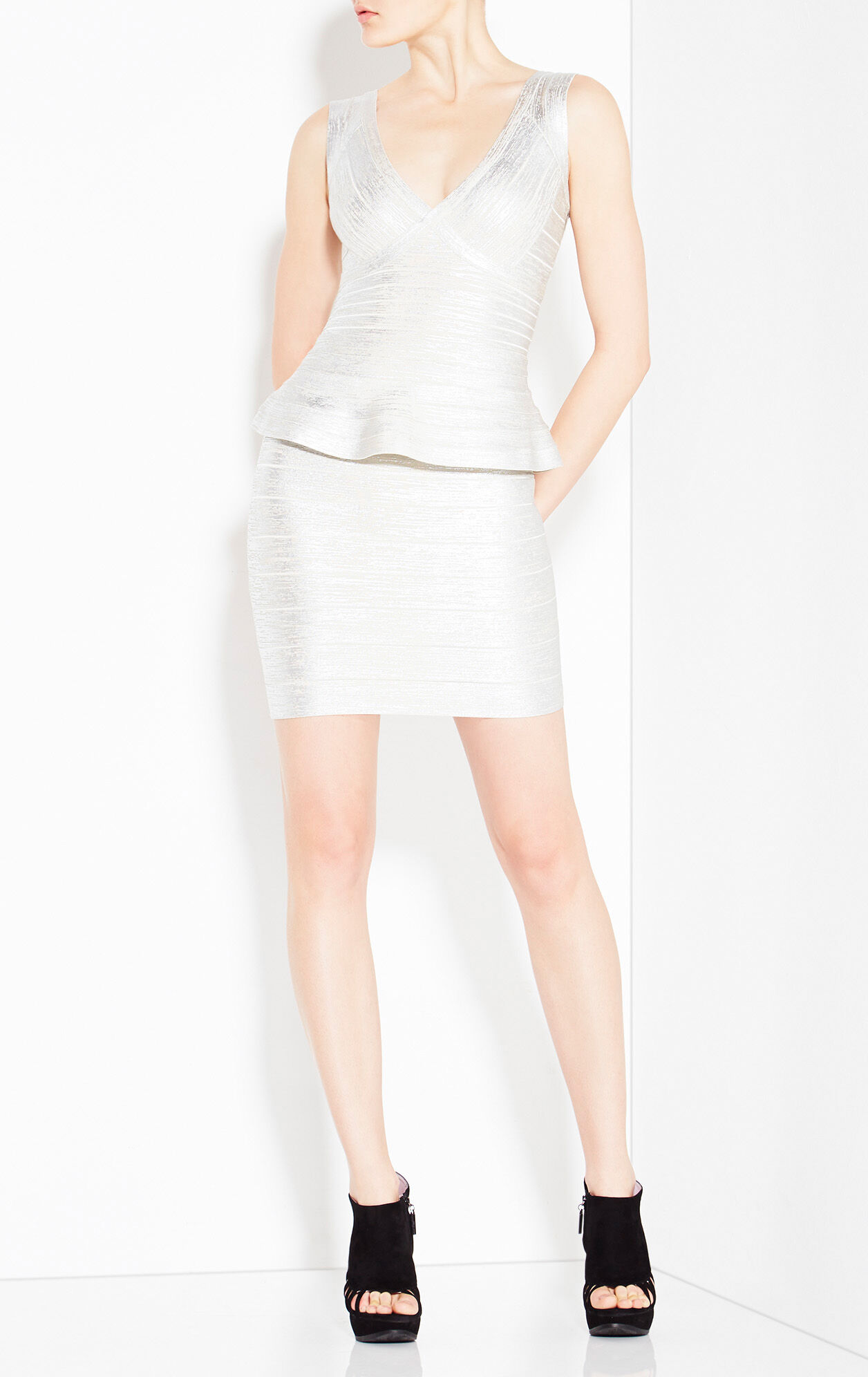 Rebeca Woodgrain Foil Print Dress