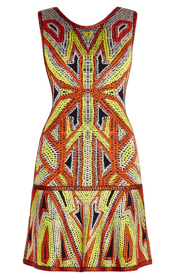 Danika Geometric Jacquard Flounce Dress