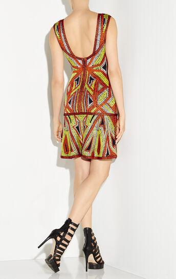Danika Geometric Jacquard Flounce Dress
