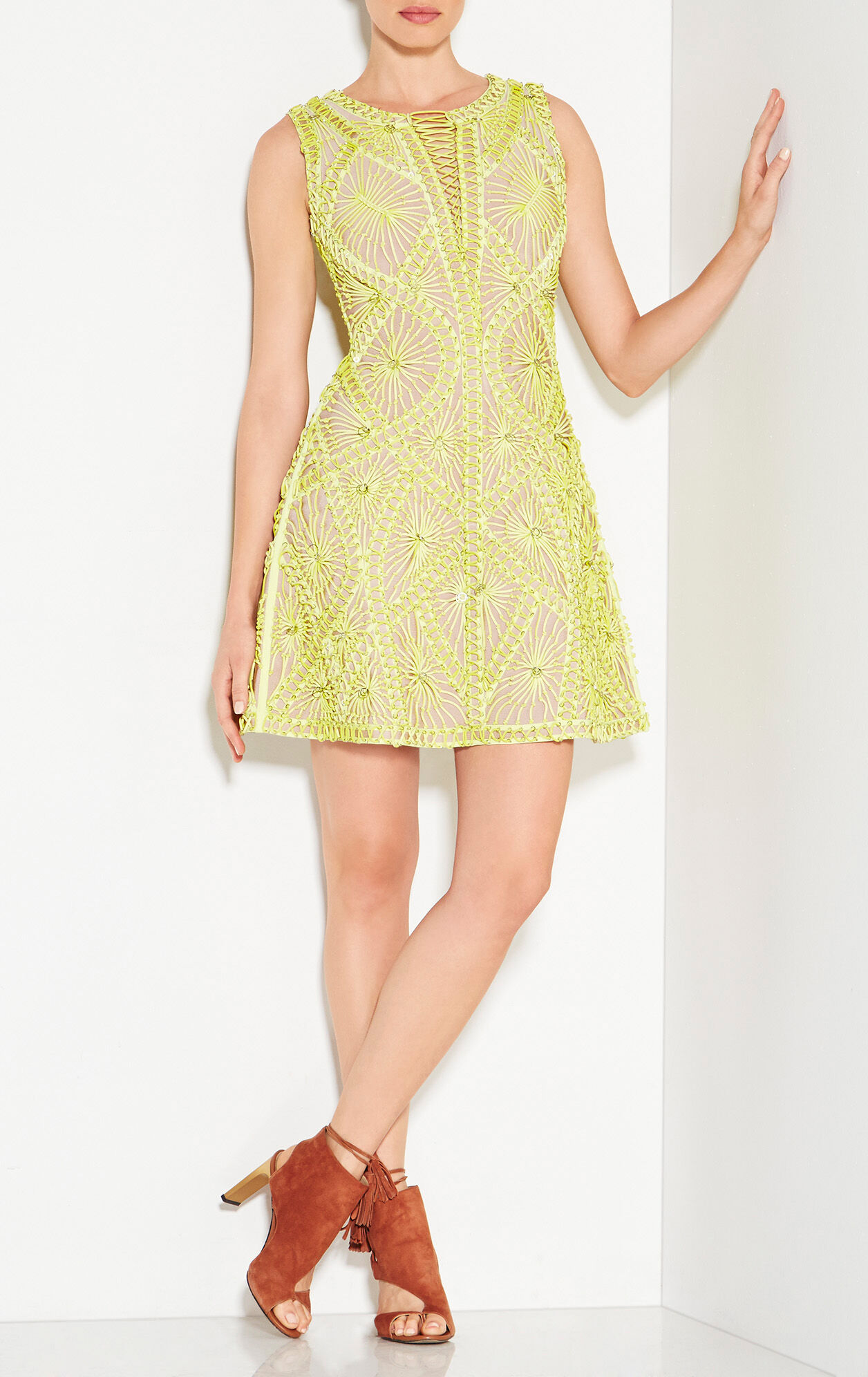 Vitoria Sunburst Knotted Lacing Rings Dress