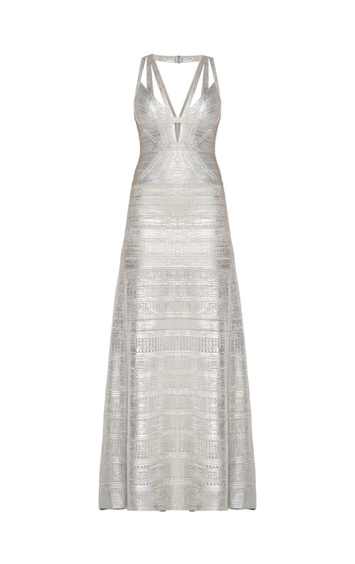 Madeleine Metallic Foil Pointelle-Trim Gown