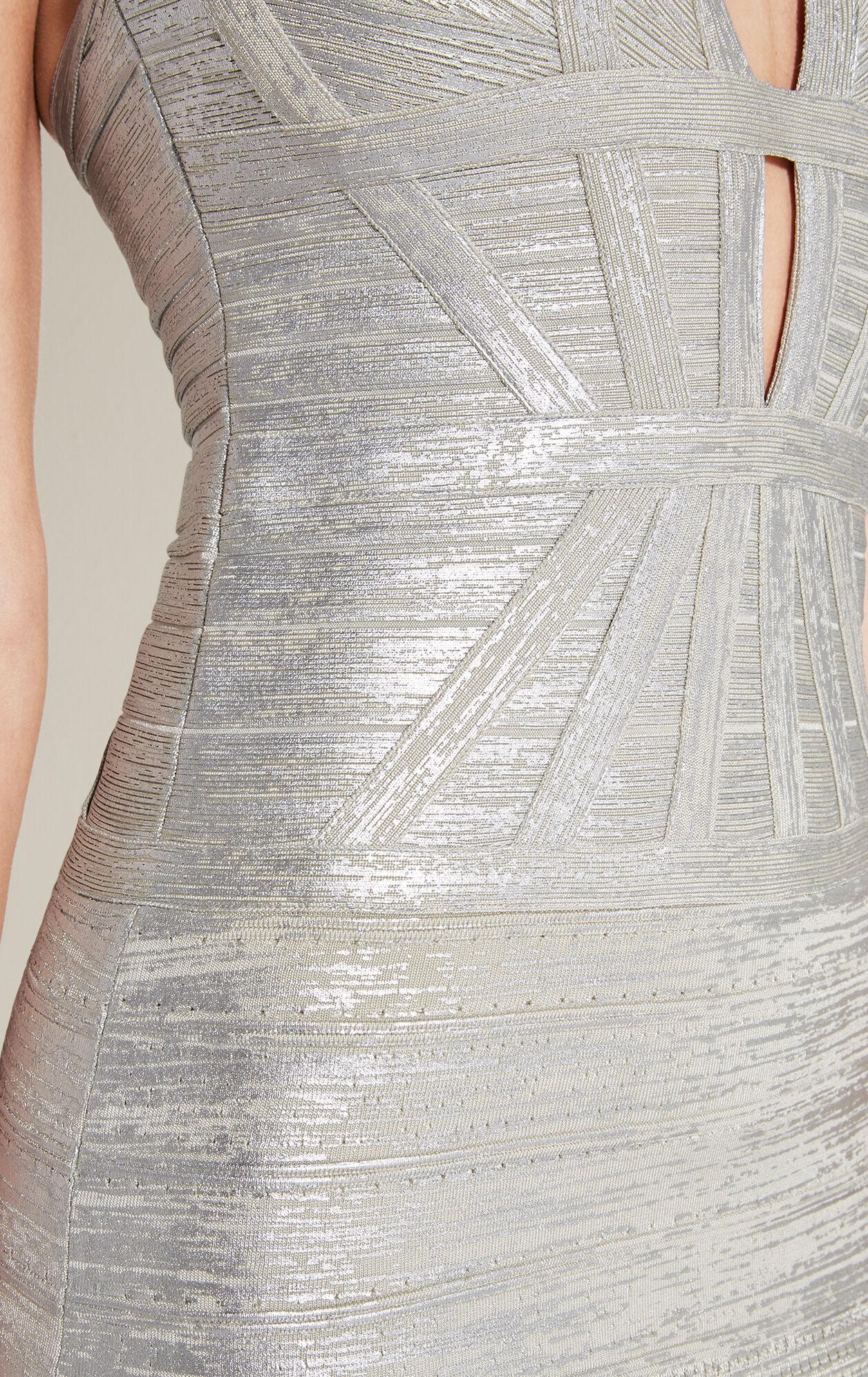 Madeleine Metallic Foil Pointelle-Trim Gown