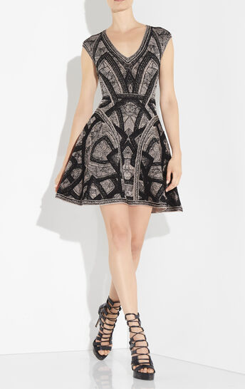 Giada Geometric Arc Raised Pointelle Dress