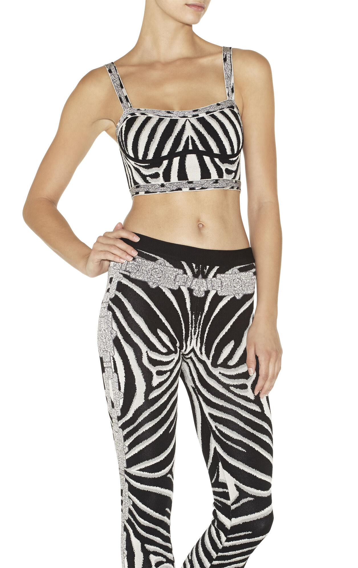 Kait Chain Detail Zebra Jacquard Crop Top