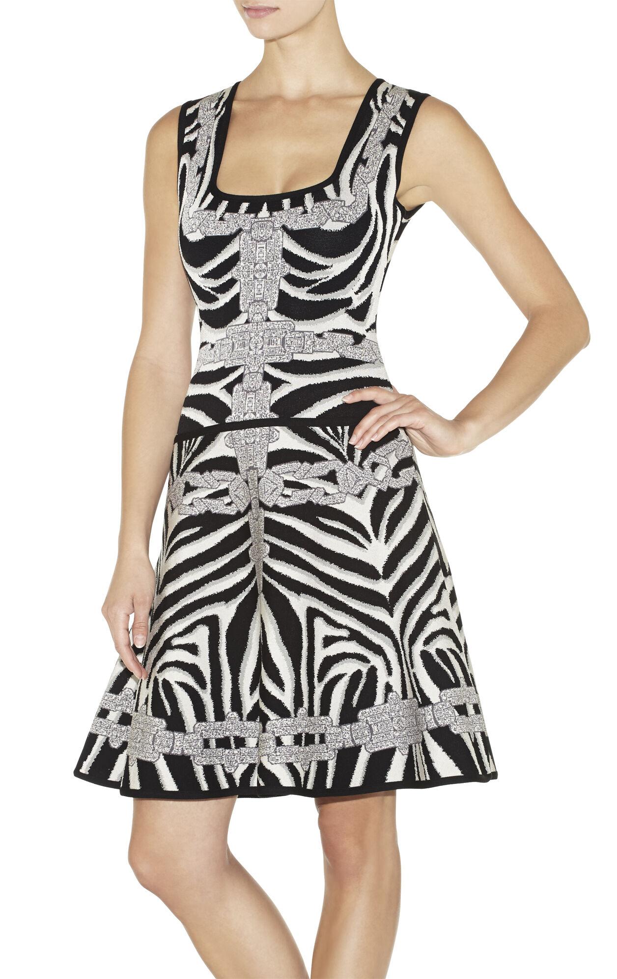 Miranda Chain Detail Zebra Jacquard Dress