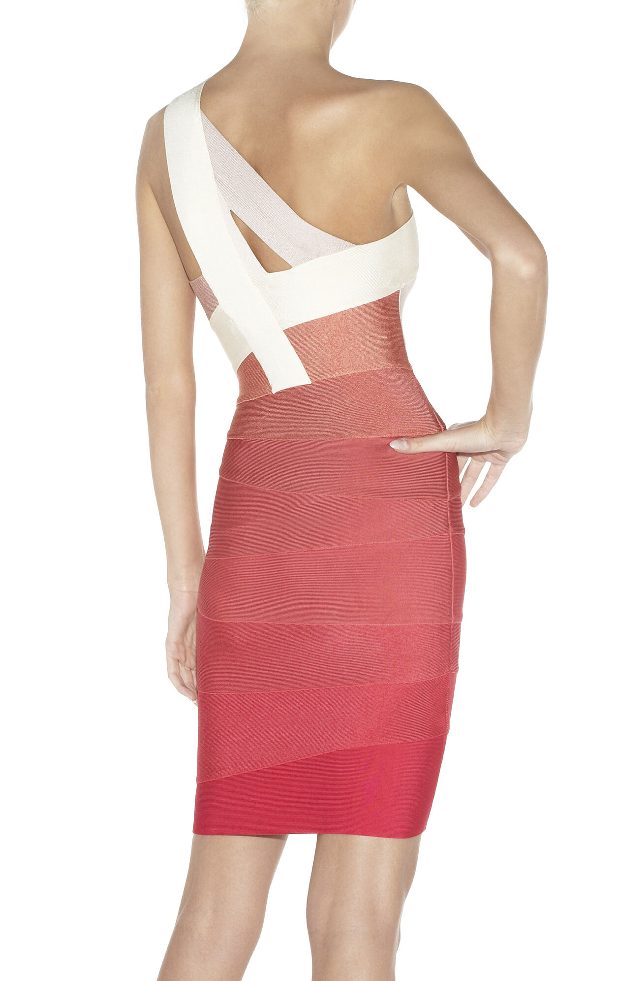 ALEXIS ONE-SHOULDER OMBRE BANDAGE DRESS