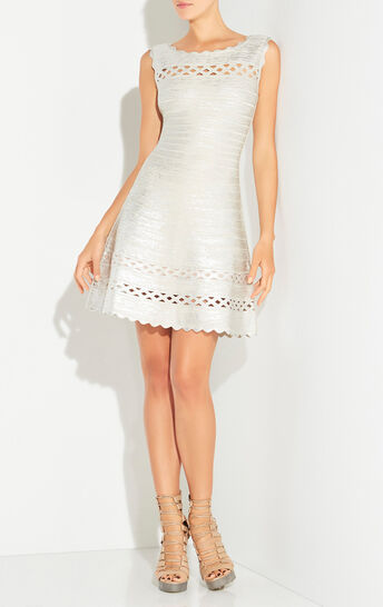 Dominica Metallic Foil Cutout Dress