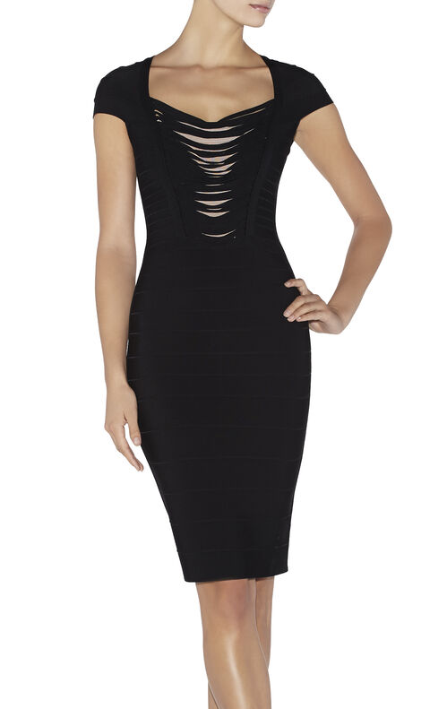 Anne Draped Fringe Bandage Dress