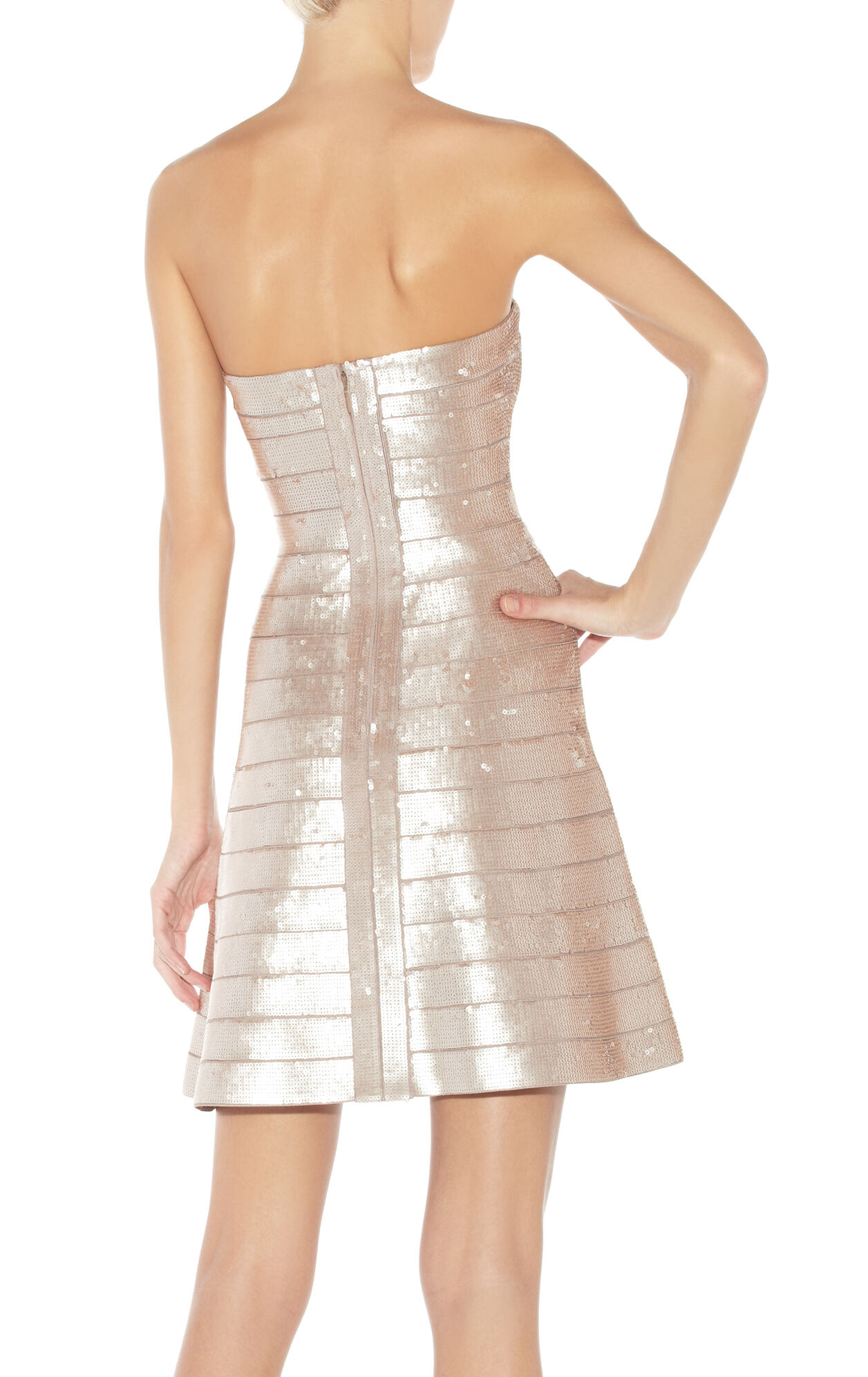 Mellie Sequined Strapless Bandage Dress