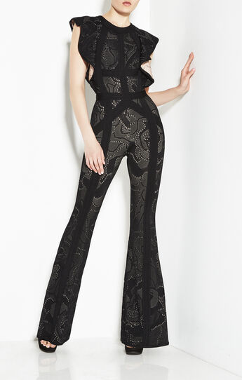 Kasie Rose Multi-Texture Plaited Jacquard Jumpsuit