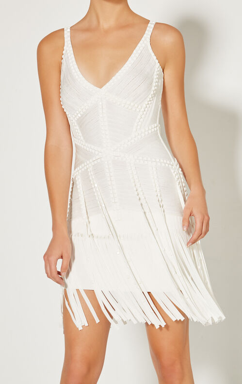 Jadelyn Embellished Draped Bandage Dress
