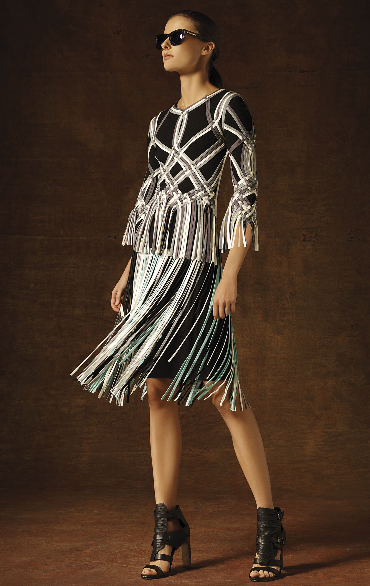 Sirina Basket Weave Fringe Jacquard Top