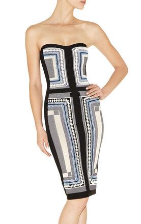 Katrin Geometric Maze Texture-Blocked Dress