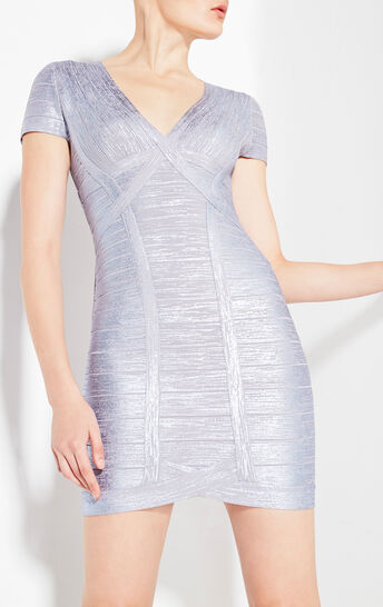 Klaudia Woodgrain Foil Print Dress
