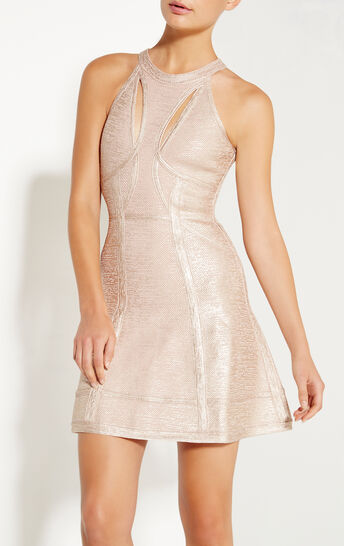 Alina Foil Bird Eye Crochet Jacquard Dress