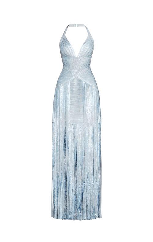 Rabekah Woodgrain Foil-Print Bandage Gown