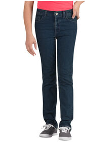 Girls' Skinny Fit Straight Leg 5-Pocket Denim Jean, 7-20 - MED STONEWASH W/ TINT (MNT)