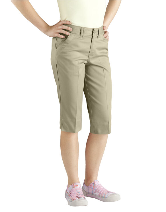 Girls' Slim Fit Stretch Flat Front Capri, 7-20 - DESERT SAND (DS)