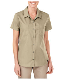 Women's Industrial Short Sleeve Work Shirt - DESERT SAND (DS)