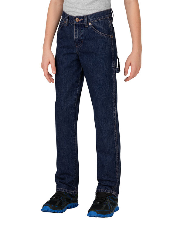 Boys' Relaxed Fit Straight Leg Denim Carpenter Jean, 8-20 - RINSED INDIGO BLUE (RNB)