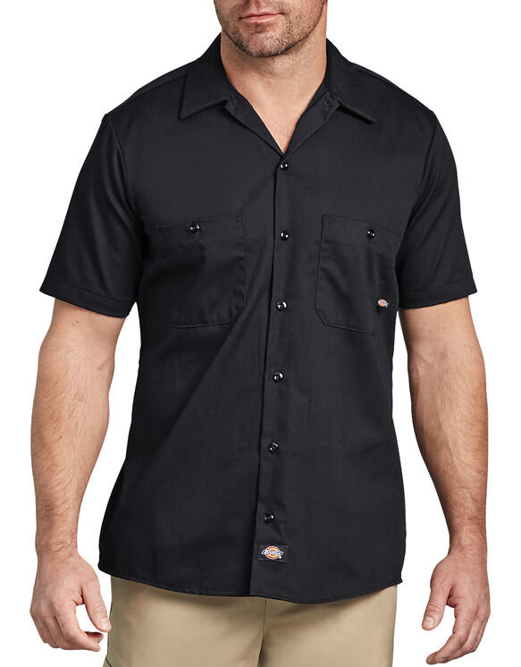 Industrial Cotton Short Sleeve Work Shirt - BLACK (BK)