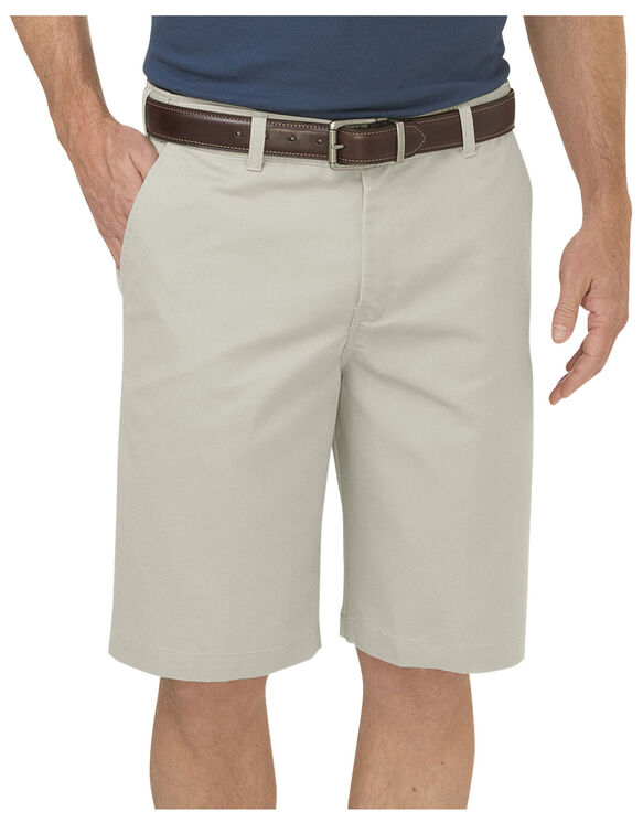 "Dickies KHAKI 10"" Regular Fit Flat Front Short - RINSED STONE (RST)"