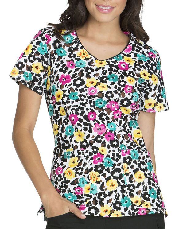 Women's EDS Print V-Neck Scrub Top - PURRFECT PETALS (PRPT)