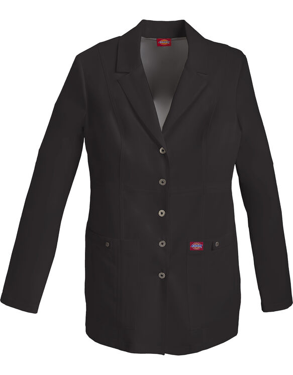 "Women's Gen Flex 28"" Snap Front Lab Coat - BLACK-LICENSEE (BLK)"
