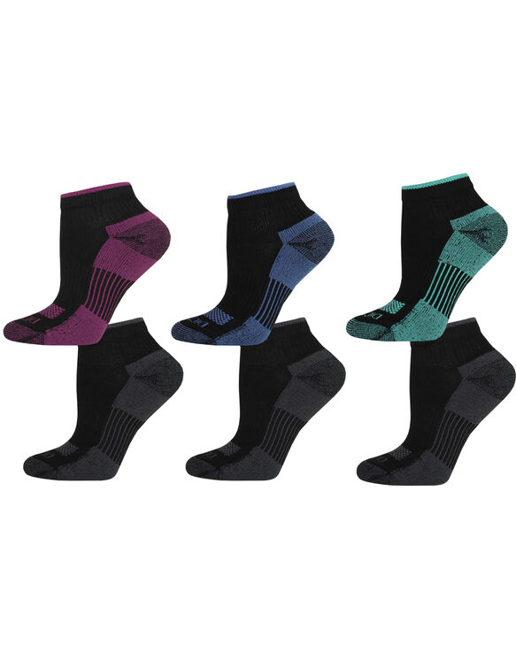 Women's Dri-Tech Quarter Socks, 6-Pack, Size 6-9 - BLACK (BK)