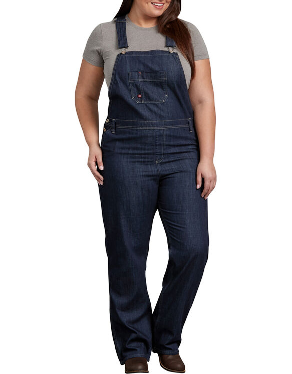 Women's Relaxed Fit Straight Leg Bib Overall (Plus) - DARK INDIGO BLACK (DIB)